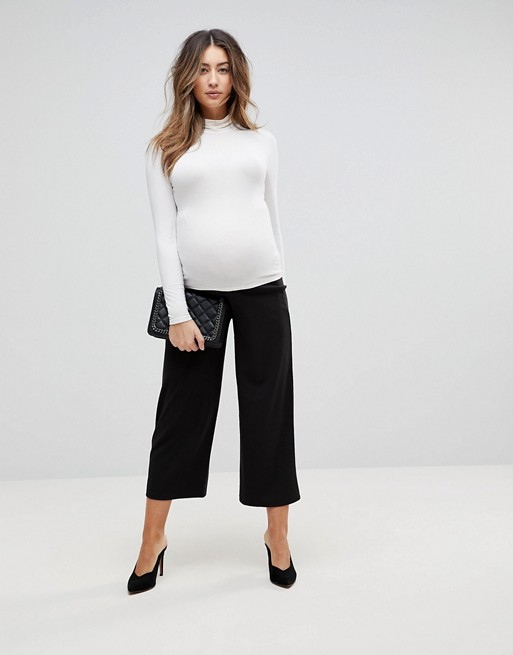 ASOS MATERNITY Cropped Black Wide Leg Pants in Jersey Crepe at asos.com