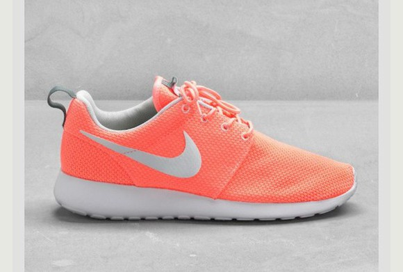coral shoes nike running shoes roshes, nike, shoes, trainers, running shoes, fashion, orange, grey, pattern need it please