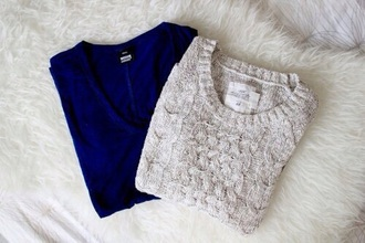 sweater blue knitted grey knitted sweater cable knit