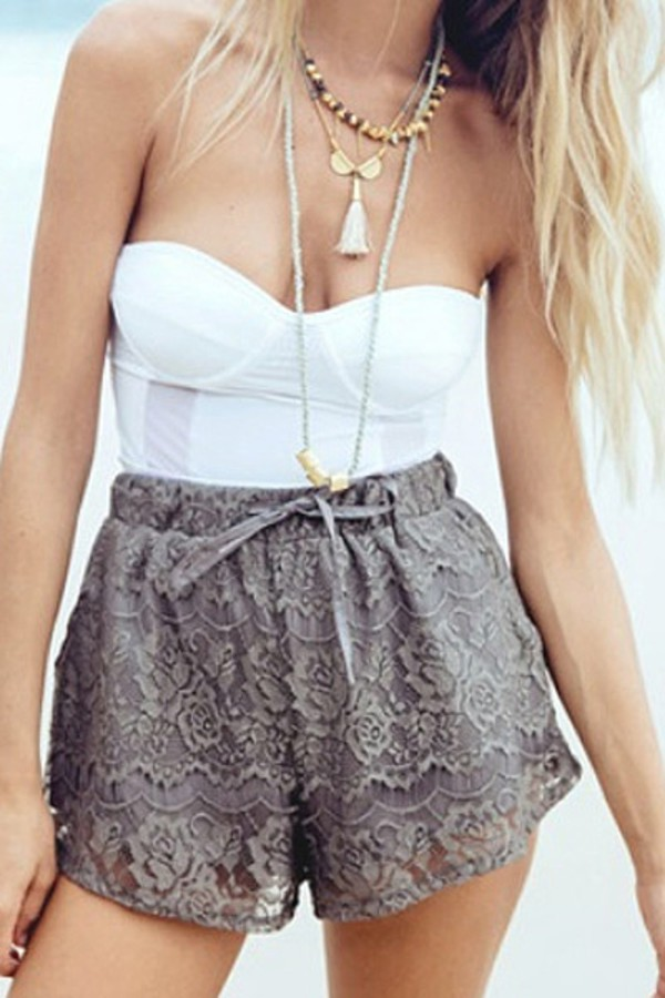 shorts summer zaful girl girly beach. tumblr tumblr outfit short lace floral flowers print beach summer outfits vogue boho bohemian grunge vintage hippie hipster top girly wishlist lace shorts grey shorts