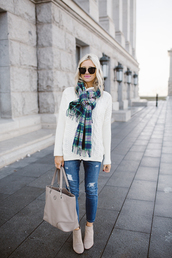 little miss fearless,blogger,sweater,scarf,jeans,shoes,bag,sunglasses,make-up,winter outfits,white sweater,tartan scarf,ankle boots,tote bag