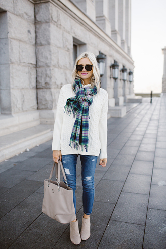 little miss fearless blogger sweater scarf jeans shoes bag sunglasses make-up winter outfits white sweater tartan scarf ankle boots tote bag