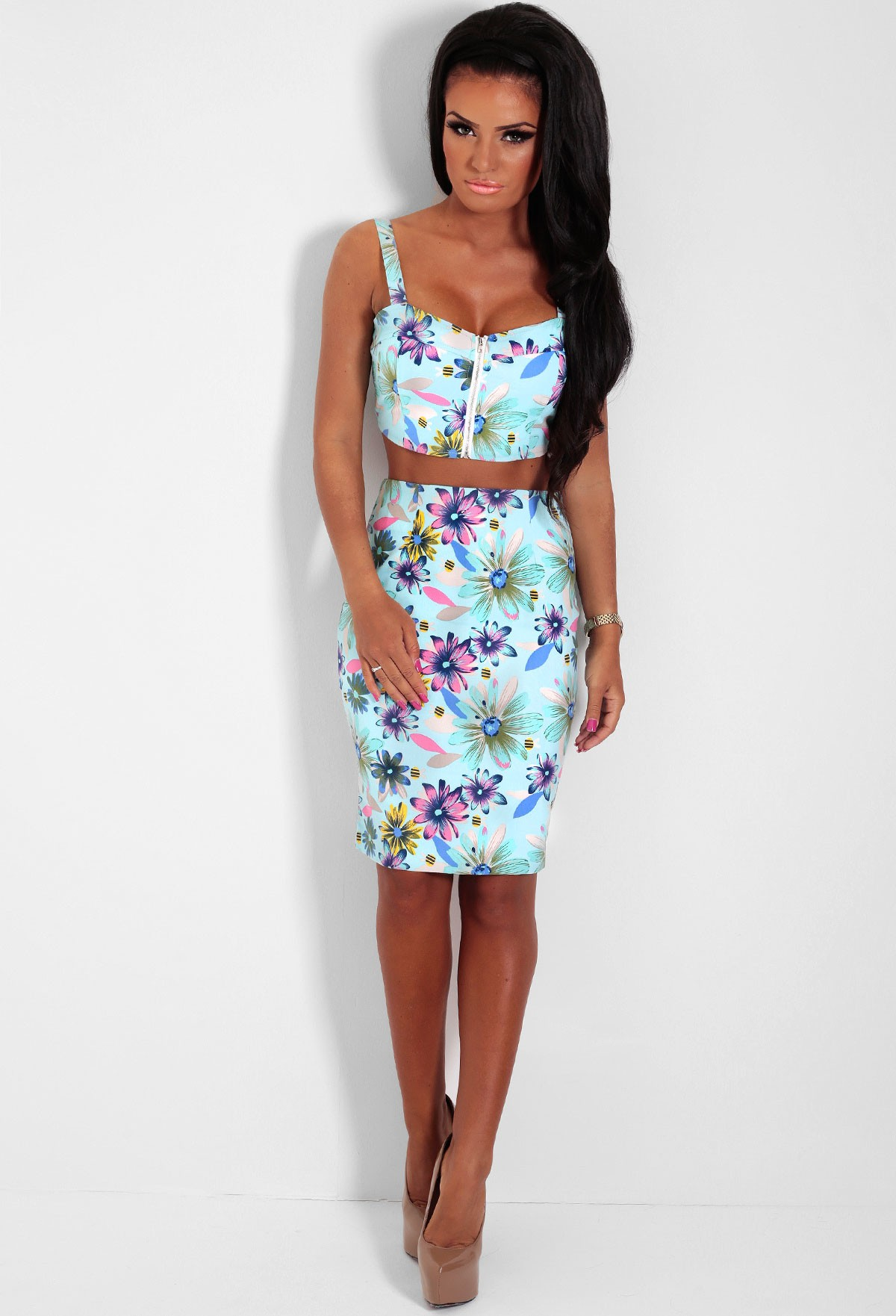 Buzzy Bee Multicolour Floral Print Two Piece Set | Pink Boutique