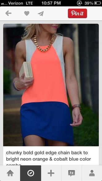 dress cobalt blue colorblock sleeveless coral dress nude