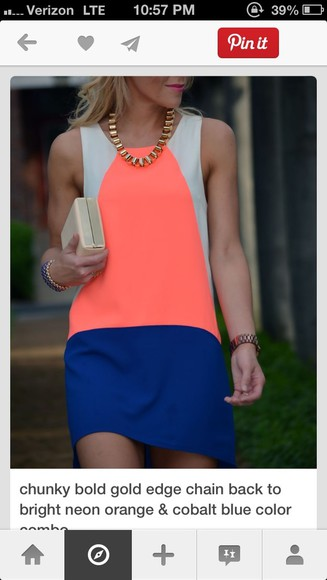 color block dress cobalt blue sleeveless coral dress nude