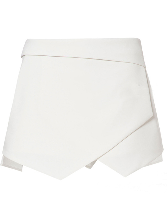 White Asymmetrical Geometric Pockets Shorts - Sheinside.com