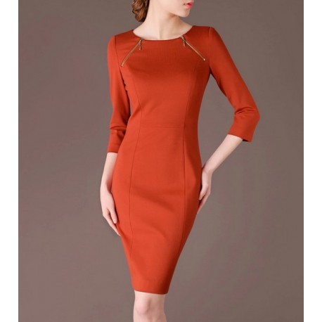 Orange Elegant Summer OL O-neck Slim Women Fashion Dress lml7009 - ott-123 - Global Online Shopping for Dresses