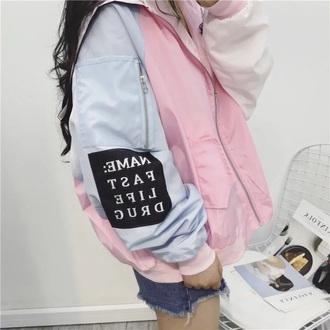 jacket colour block harajuku bomber jacket embroidery jacket coat polyester patched design pink blue black white polyester coat