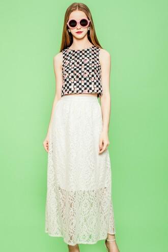 skirt maxi skirt ivory skirt lace maxi skirt lace skirt round sunglasses
