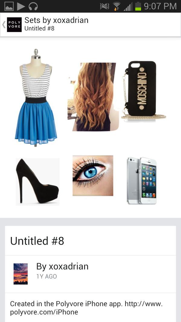 dress moschino high heels blue black white iphone