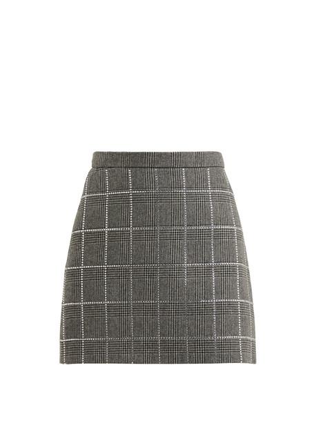 MIU MIU Crystal-embellished wool-blend skirt in grey