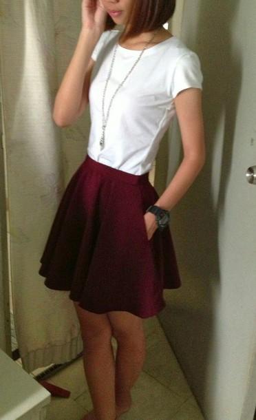 skirt skater skirt red skirt burgundy skirt
