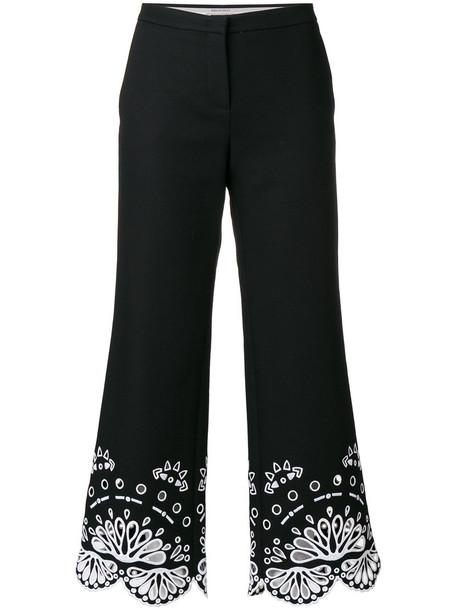 Emilio Pucci embroidered cropped women spandex cotton black pants