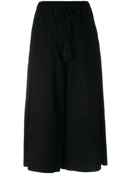 Forte Forte cropped women cotton suede black pants