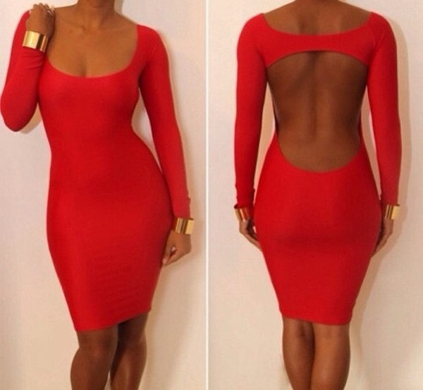 dress jewels ruby dress red dress cut-out bodycon dress sexy night clubwear lovely red coral coral dress backless luxury gold tan tanned girl sexy dress party dress fashion