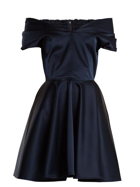 EMILIO DE LA MORENA Tamara off-the-shoulder stretch-silk dress in navy