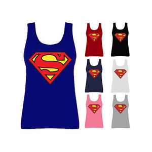 Womens Superman Logo Comic Super Hero Vest Tank Top NEW UK 10-18
