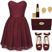 dress,shoes,lipstick,clutch,heels,bustier dress,holiday gift,red lipstick,burgundy,date outfit,nail polish