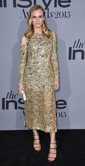 dress,gown,gold,gold dress,diane kruger
