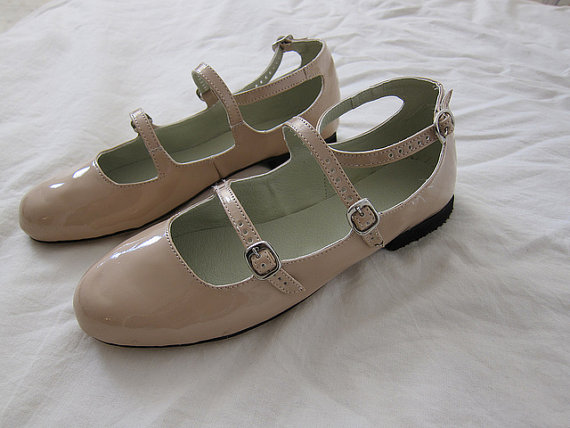 Patent leather triple strap flats by goldenponies on etsy