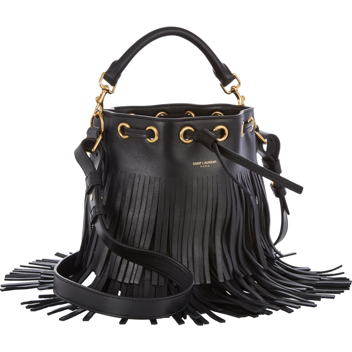 Saint laurent fringe small bucket bag at barneys.com