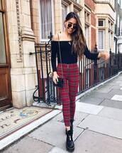 top,blouse,black blouse,off the shoulder,bodysuit,skinny pants,checkered pants,booties,sunglasses,earrings,shoulder bag