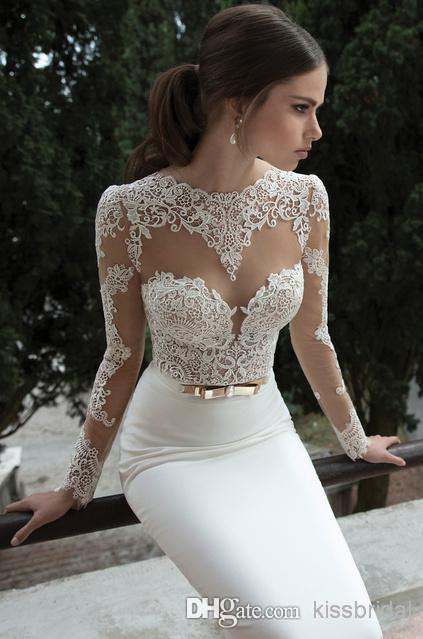 Cheap Long Sleeve Evening Gowns - Discount 2015 Vintage Lace Long Sleeved Short Prom Dresses Online with $114.05/Piece | DHgate