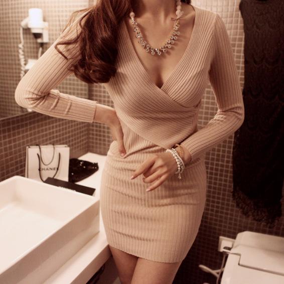Sexy fresh deep v long sleeve dress