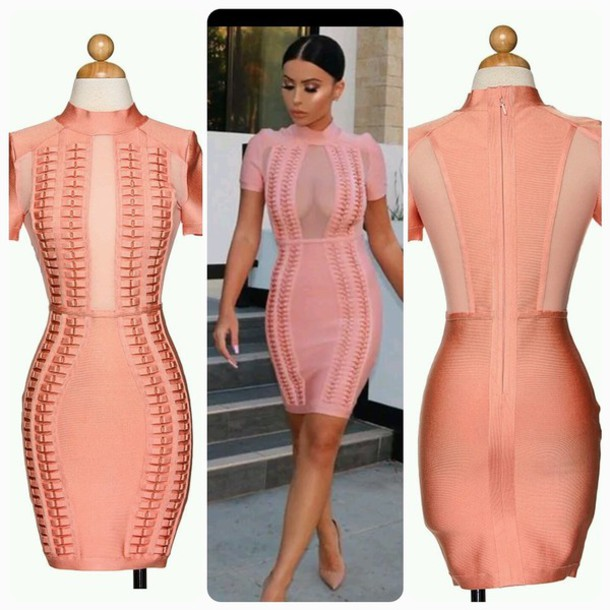 8a8d0420a71 dress pink pink dress bodycon short sleeve short sleeve dress mesh mesh  dress celebrity celebrity style