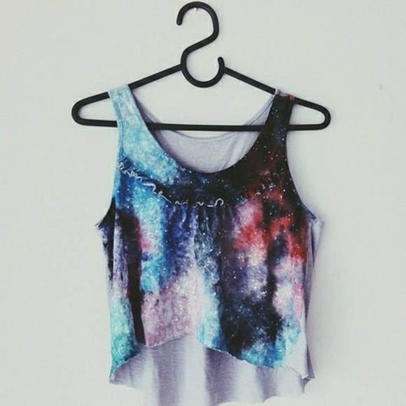 shirt summer outfit galaxy tank top cosmic hipster we heart it