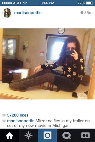 skull sweater skull fall sweater fall outfits leg warmers madison pettis skinny leg knee high boots knee high socks knee high cute