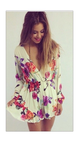 dress floral dress short dress white dress vneckdress longsleevedress