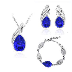Dark Royal Blue Jewellery Set Crystal Studs Earrings, Bracelet & Necklace S352 | Amazing Shoes UK