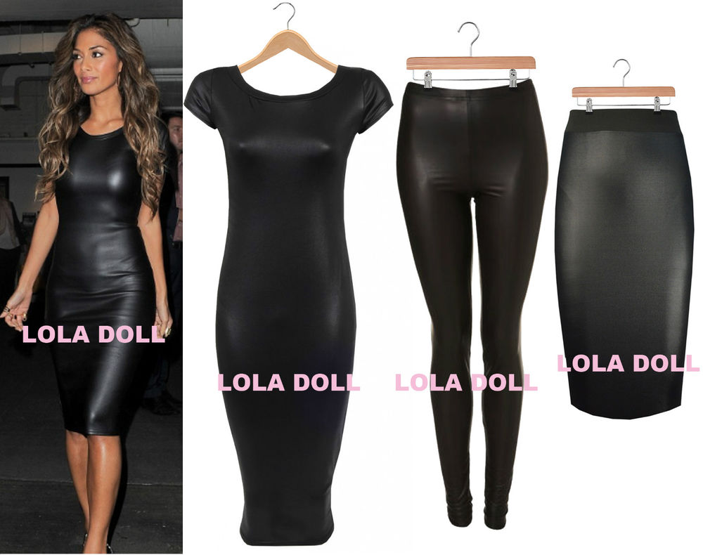 LOOK PVC CELEB BODYCON NICOLE MIDI DRESS PENCIL SKIRT LEGGINGS ...