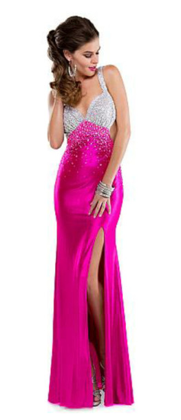dress fuschia pink dress prom dress pink prom dress long prom dress