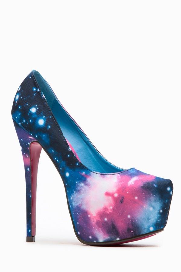 48d55a7c5ca Liliana Solange Almond Toe Galaxy Print Heel @ Cicihot Heel Shoes ...