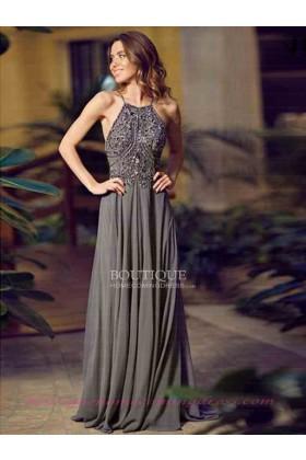 Line spaghetti straps chiffon 2015 prom dress