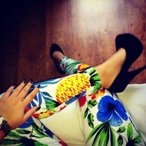 shoes floral jeans cute colourful tropical print