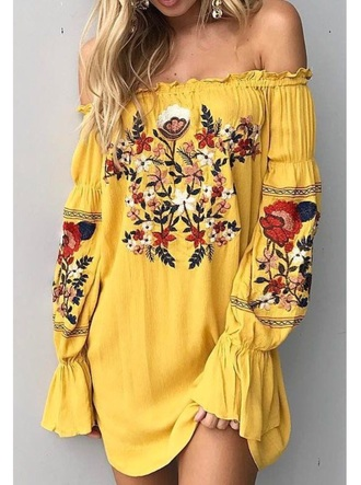 dress yellow floral embroidered dress.   off the he shoulder
