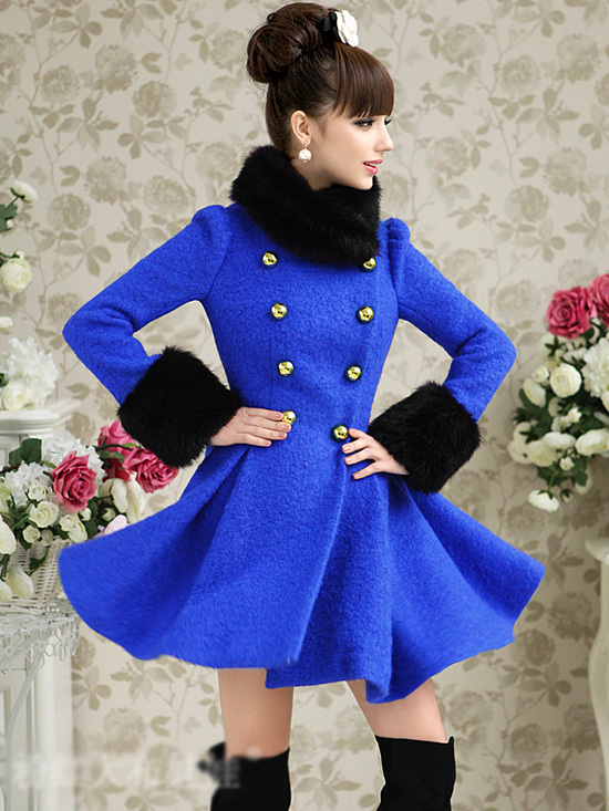 2013 Winter Women's Fashion Faux Fur Collar Blue Woolen Coat Double Breasted Slim Large Skirt Hem Thick Long Wool Coat  Free-inWool & Blends from Apparel & Accessories on Aliexpress.com
