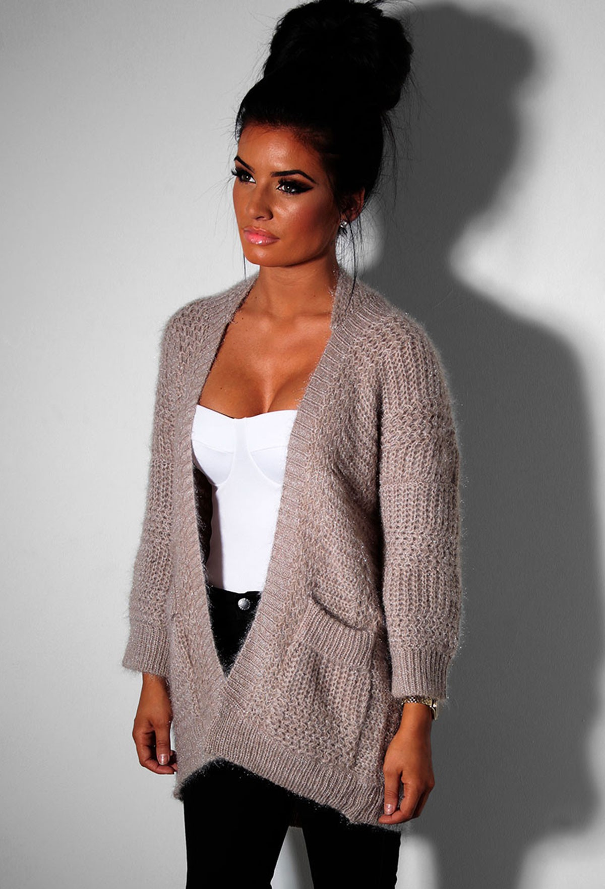 Nude Chunky Knitted Pocket Cardigan | Pink Boutique