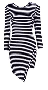 Reverse long sleeve stripe dress