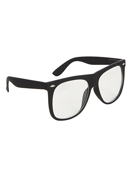 Oversized black soft touch clear lens glasses