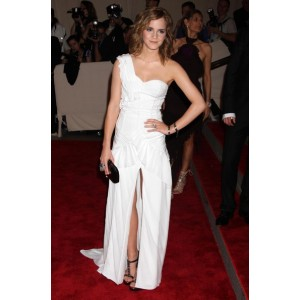 Emma watson white one shoulder prom dress 2010 met ball red carpet