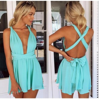 dress deep deep v-neck straps cross strap cross party party dress backless short dress colorful blue black white summer summer party sunglasses girl fashion lady women lake blue light blue