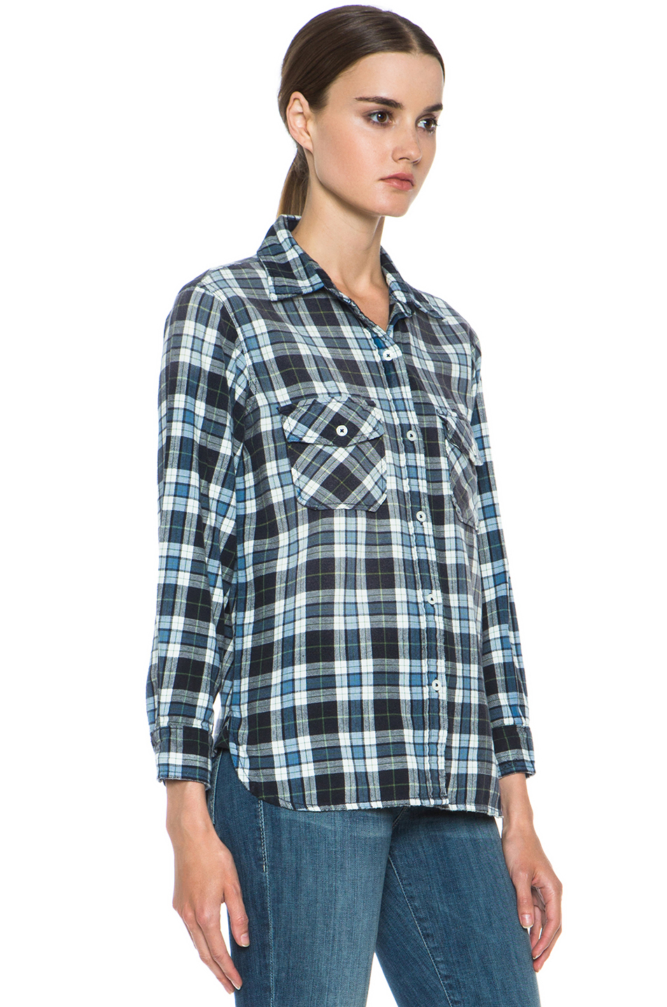 Current/Elliott|Cotton Perfect Shirt in Jet Plaid