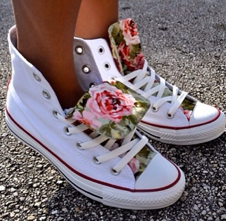 shoes co bag converse flowers girly streetstyle nice summer colorful pink roses woman shoes fashion