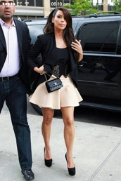 skirt,dress,pink skirt,blouse,belt,bag,chanel inspired,shoes,black heels