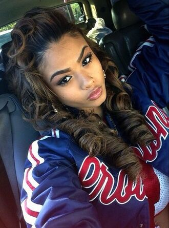 jacket india westbrooks selfie swag dope urban _indialove curly hair baseball jacket black girls killin it coat