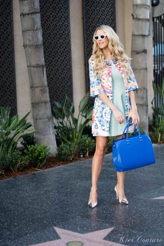 fashion addict blogger dress jacket blue bag